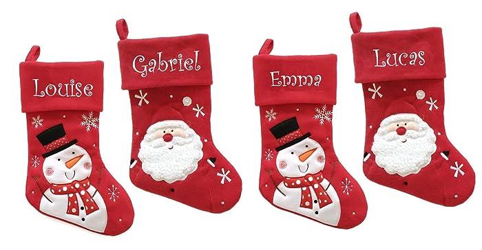 7ea6f234485bb Chaussette de Noël personnalisée avec le prénom nom brodé