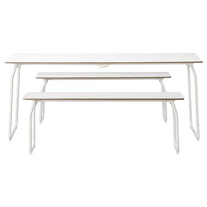 IKEA PS 2014 - Mesa + 2 bancos, en Blanco / al aire libre / plegable ...