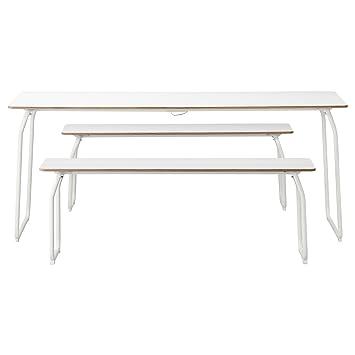 Amazon De Ikea Ikea Ps 2014 Tisch 2 Banke In Im Freien Weiss