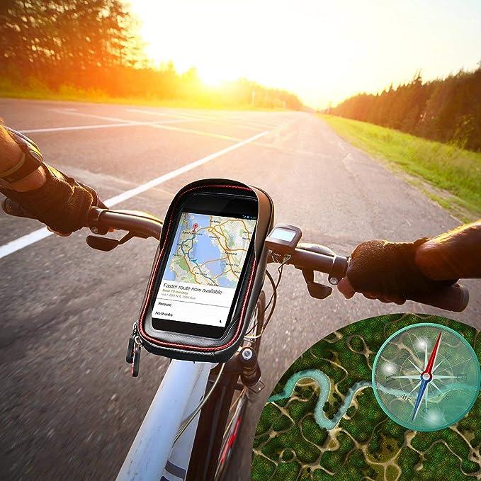 Sacoche V/élo T/él/éphone Etanche Supband Support T/él/éphone V/élo Etanche Sacoche Guidon Cadre V/élo VTT Moto Scooter Housse Transparent Ecran Tactile avec Emplacement pour Smartphone sous 6 Pouces