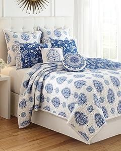 Dena Home Solange Standard Pillow Sham White/ Indigo