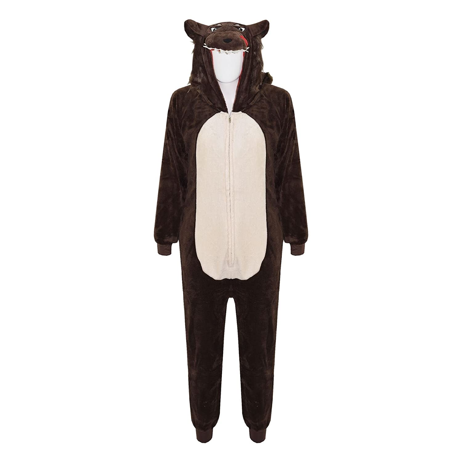 amazoncom kids girls boys onesie soft fluffy wolf all in one halloween costume 714 years clothing