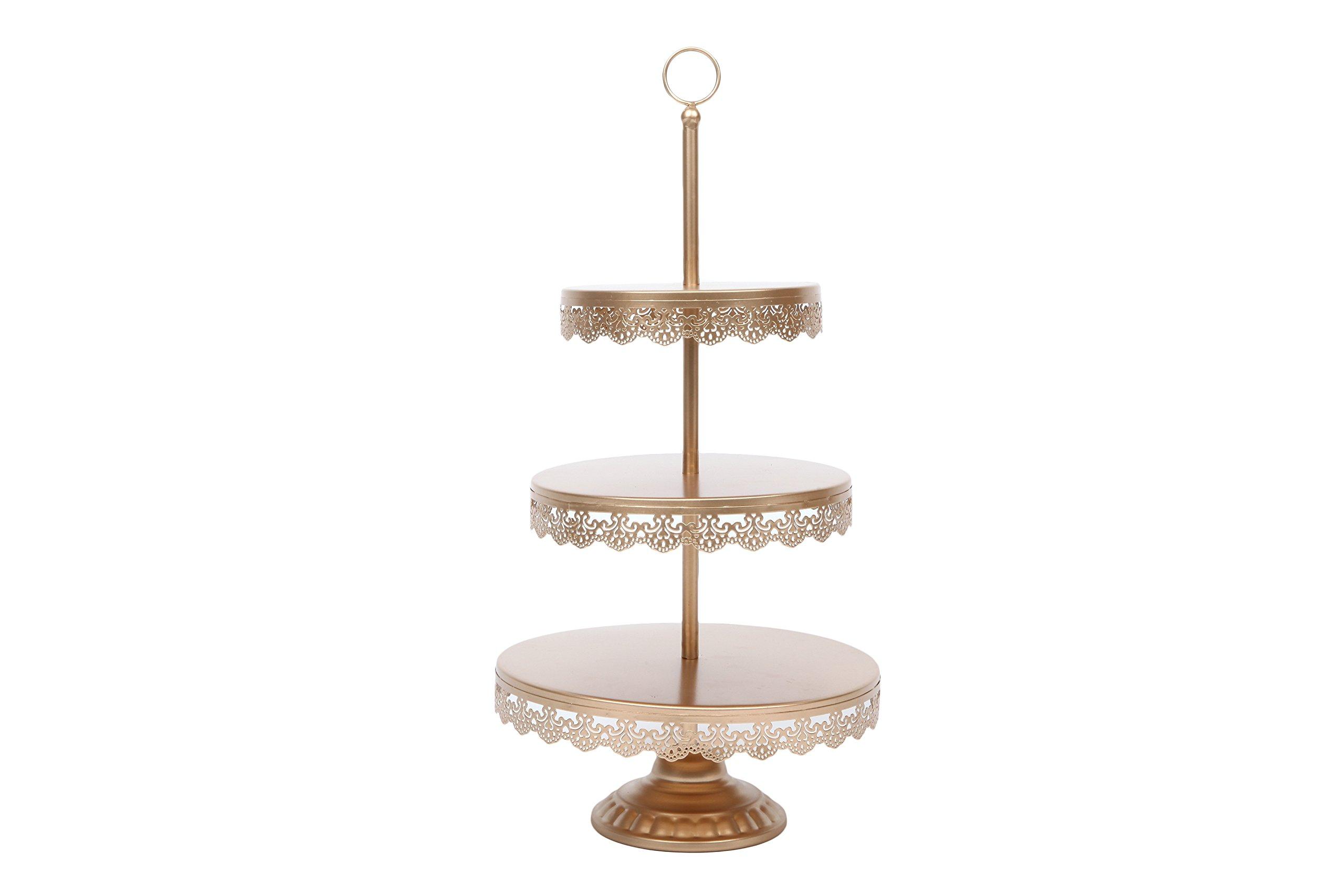 Lilac Beauty 3-tier Round Cupcake Stand Dessert Tower Display Iron Cupcake Holder for Wedding Birthday Anniversary Celebration