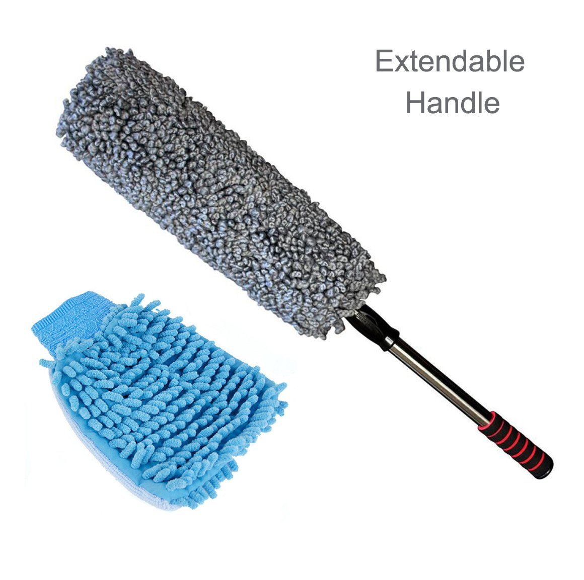 Emmix Car Duster - The Best Microfiber Multipurpose 31.5'' Car and Home Detail Duster - Exterior or Interior Use - Lint Free - Extendable Soft Handle with Microfiber Car Wash Mitt,Grey
