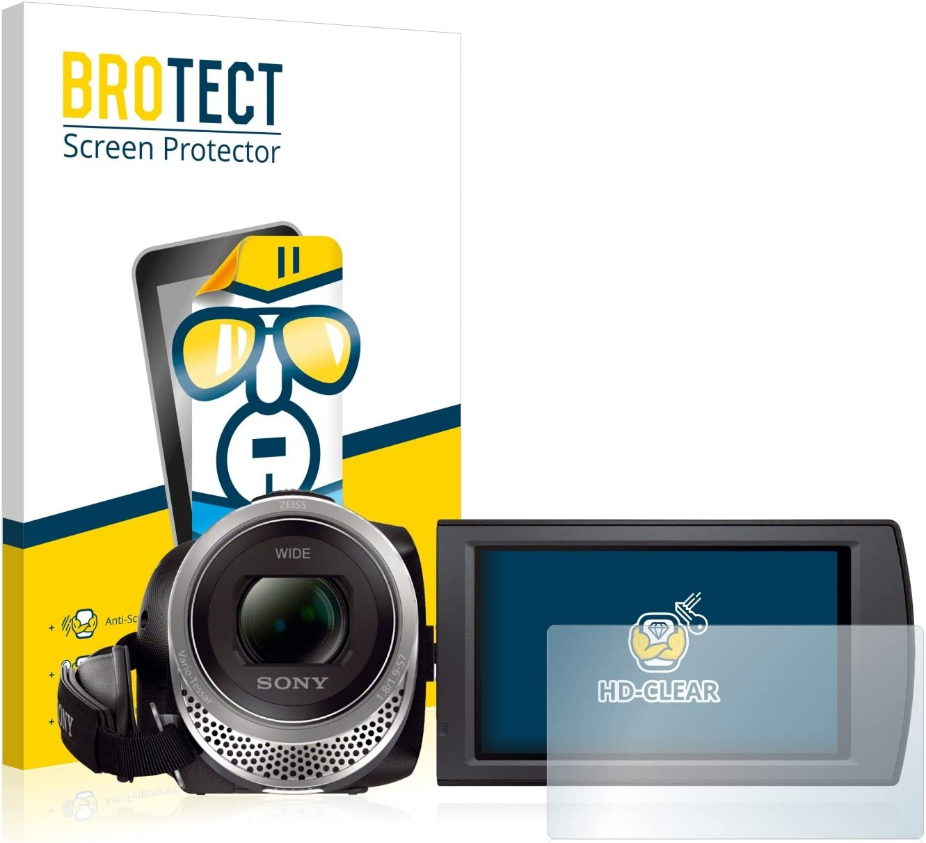 Hard-Coated Dirt-Repellent 2X BROTECT HD-Clear Screen Protector for Sony FDR-AX53 Crystal-Clear