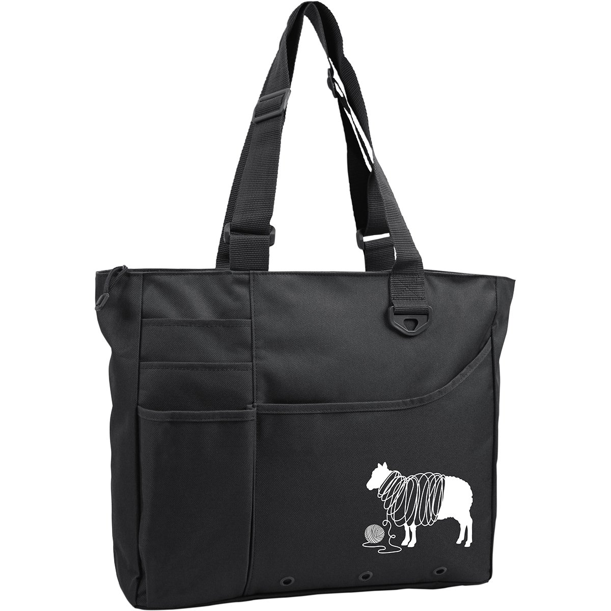 Knit Happy Unwound Sheep Bright Bag 15X13X4-Black K1C2 KH212-BA