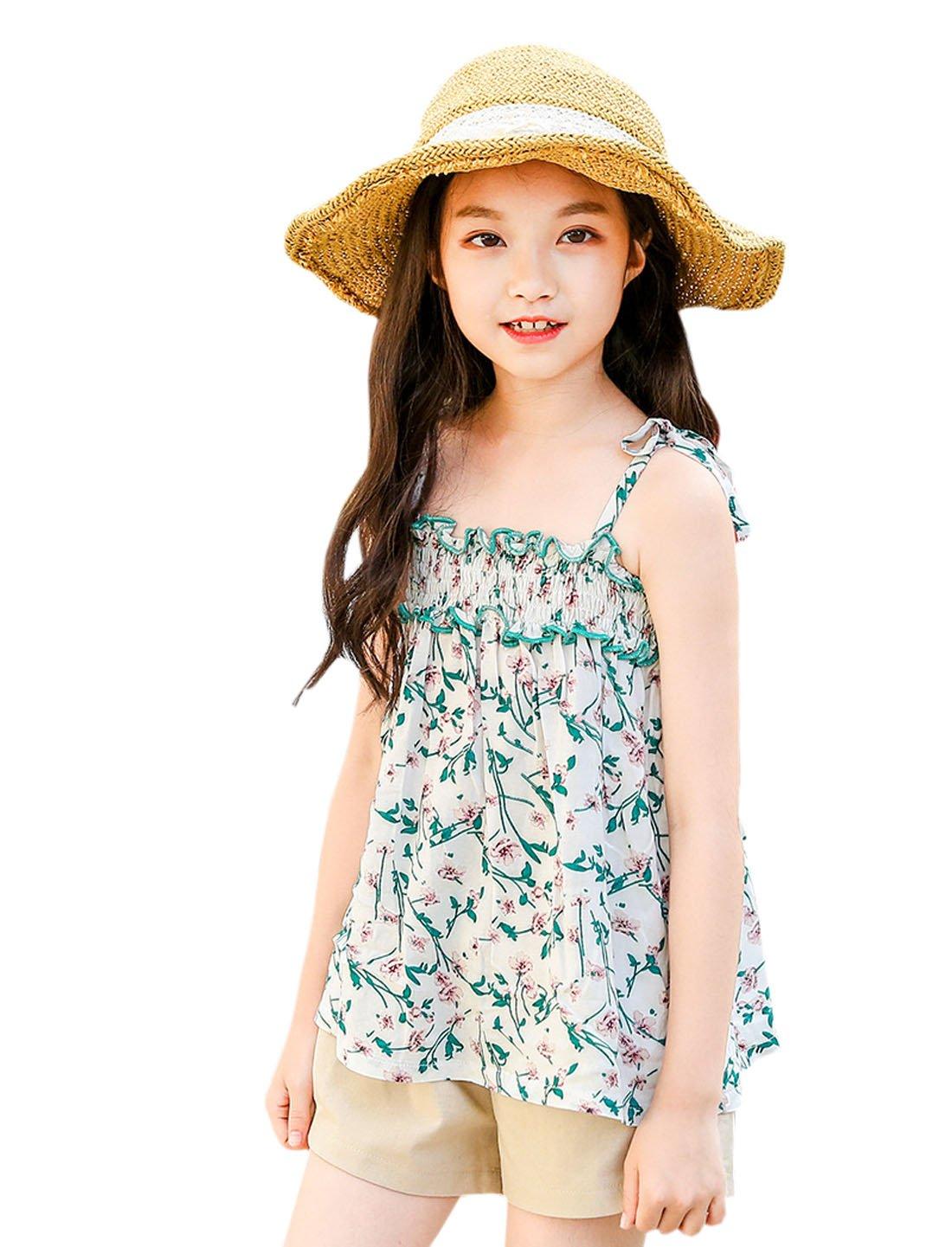 YueLian Girls Summer Sleeveless Loose Strap Tee Flower Beach Vest (9-10 Years)