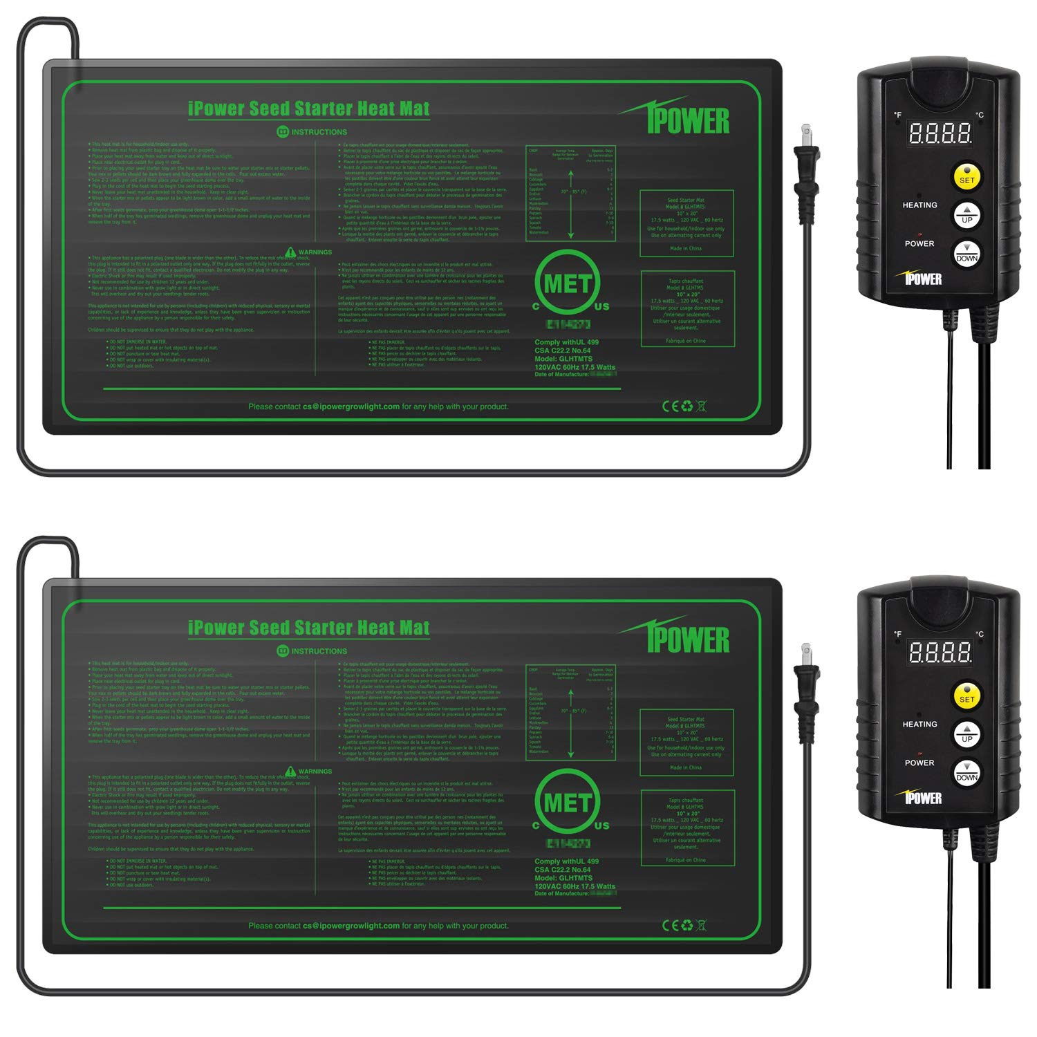 iPower 2 Pack 10'' x 20.5'' Warm Hydroponic Seedling Heat Mat and Digital Thermostat Control Combo Set for Seed Germination, Black by iPower (Image #1)
