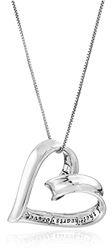 """Sterling Silver A Mother Holds Her Child's Hand Heart Pendant Necklace, 18"""""""