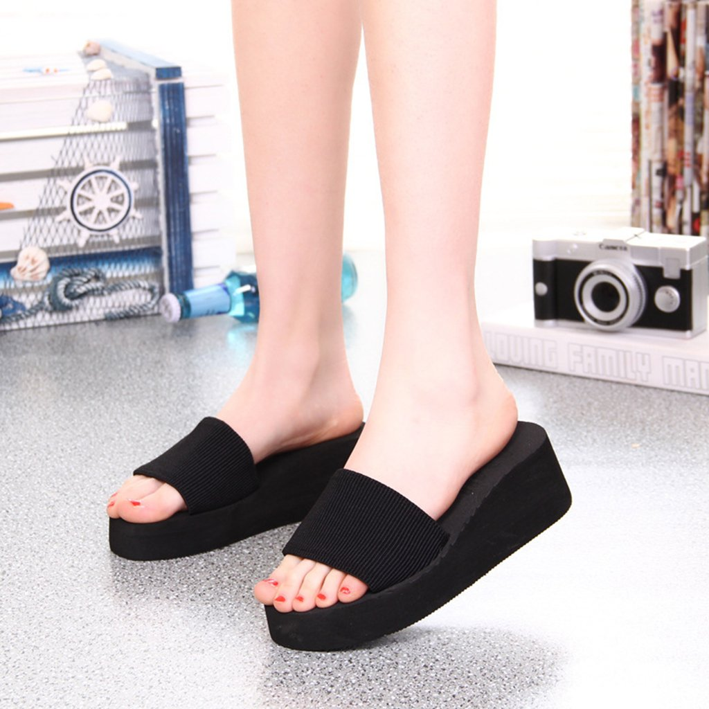 JAGENIE Summer Soft Women Wedge Sandals Thong Flip Flops Flat Platform Slippers Beach Black 36