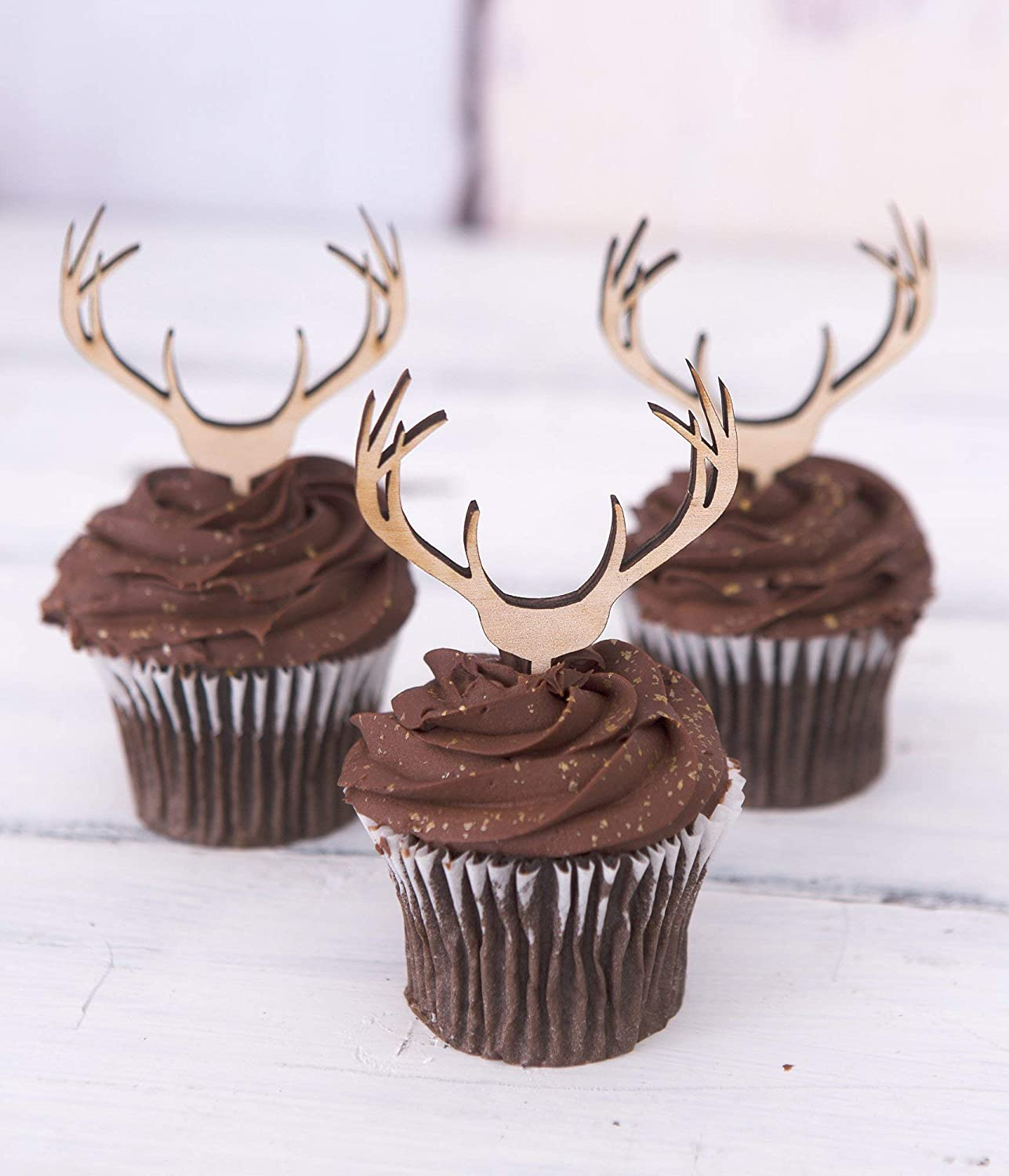 Amazon Cupcake Toppers Wooden Antlers Hunting Or Boho Style Rustic Wood Deer Cake Country Birthday Theme Western Handmade