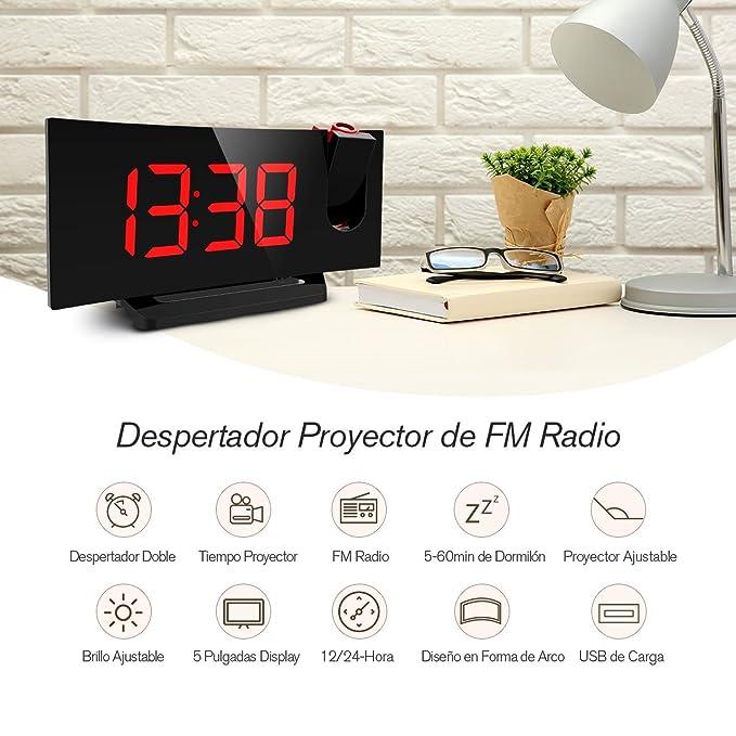 Mpow Radio Despertador Digital, Radio Reloj Despertador Proyector con FM Radio, Proyección de Tiempo y Alarmas Dual, Despertador con Proyector, ...