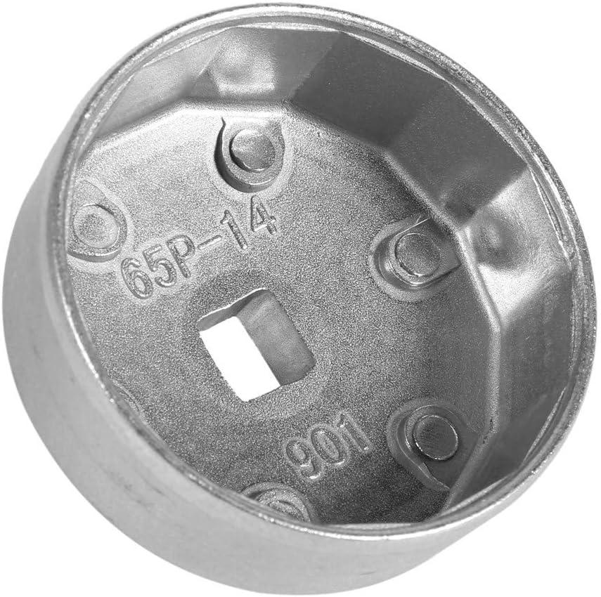 Keenso 65mm 14 Fl/ûtes Filtre /à Huile Cl/é /à Douille Bouchon Outil de Bo/îtier Remover en Aluminium Outil de Dissolvant de Voiture 901 Cl/é de Filtre /à Huile
