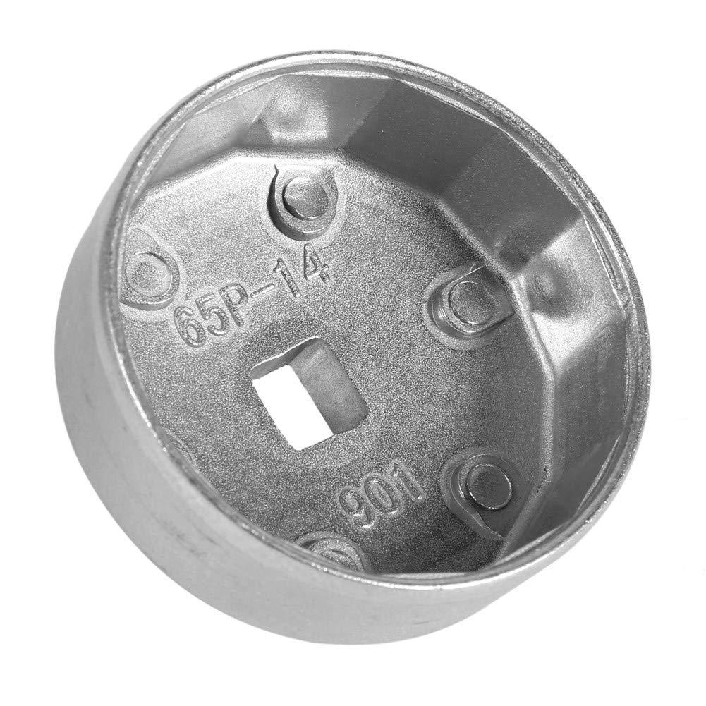 65 mm 14 scanalature Chiave per filtro olio Chiave inglese in alluminio strumento di rimozione presa auto argento per A8 Chiave per filtro olio