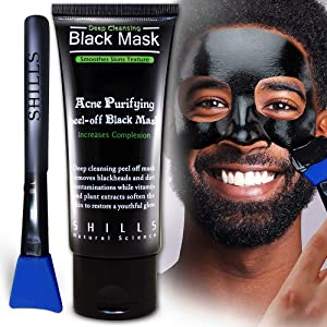 SHILLS Charcoal Mask for Men, Purifying Peel Off Mask, Black Face Mask Peel Off, Black Mask Deep Clean Pore, Blackhead Remover, 1 Bottle (1.69 fl. oz) and a Brush Set