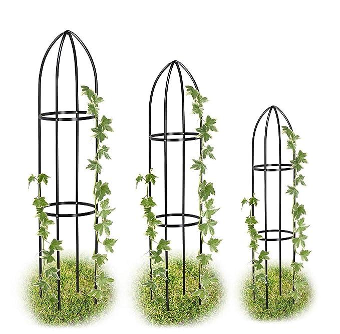 Cinagro Black Metal Garden Obelisk Trellis Heavy Duty Strong Tubular Plant Cage For Roses Climbing Plants Support Structure Garden Decoration Set Of 3 Amazon In Garden Outdoors
