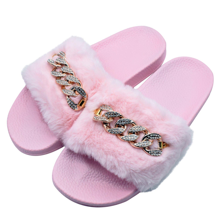 COFACE Damen Hausschuh Weiche Flache Sandalen Flauschige mit Süßer Plüsch Pantoffel Outdoor/Indoor in 5 Farben  38 EU|Diamant Rosa
