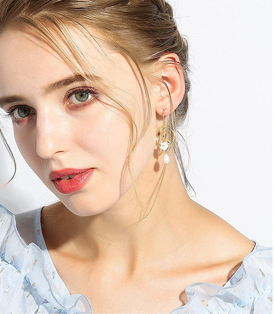 Freshwater Pearl Earrings with Flower Shell Beautiful Classic Hook Drop Dangle Earrings