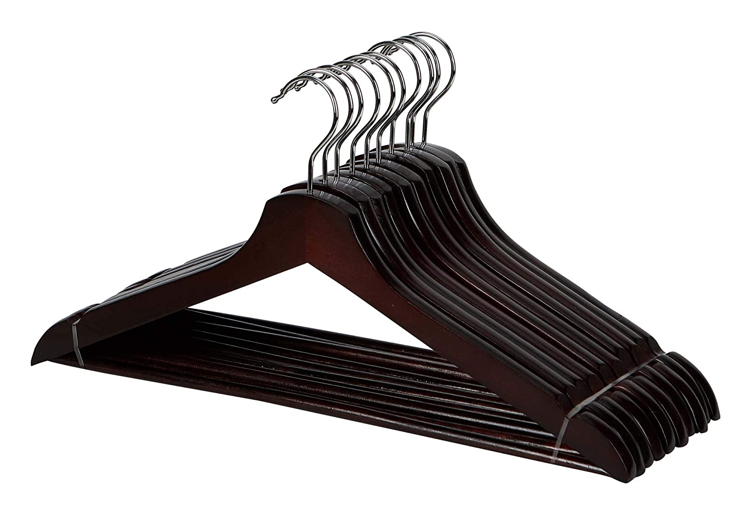 WOOD, in Cherry Luxury Collection HANGERS 10 Pack Flathead Inspired Living by Mesa Inspired Living Wooden Coat /& Suit Heavy Duty