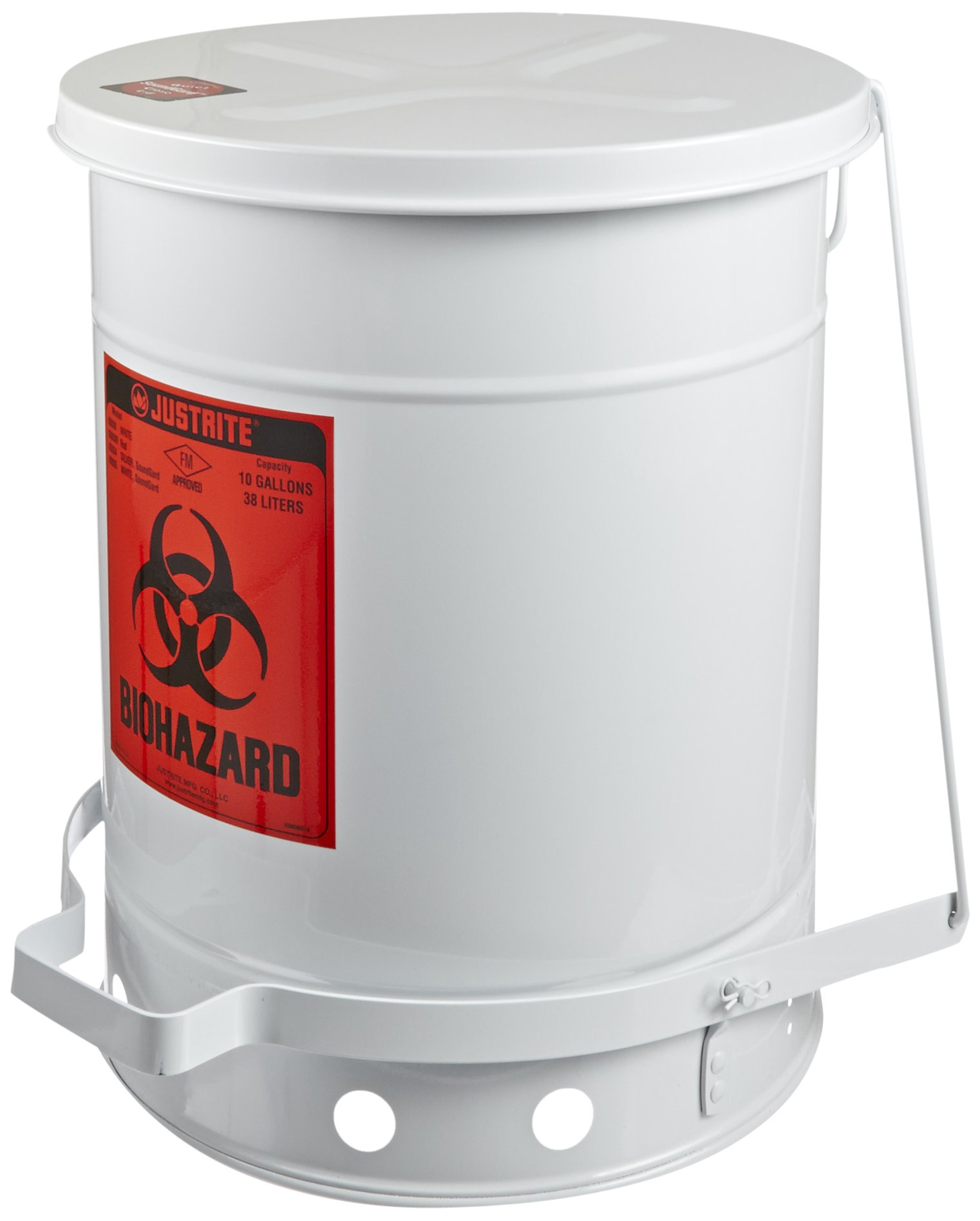 Justrite 05935 SoundGuard Steel Biohazard Waste Container with Foot Operated Cover, 10 Gallon Capacity, 13-15/16'' OD x 18-1/4'' Height, White