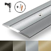 Alu Übergangsprofil Firm | C Form | gelochte Abdeckleiste zum Schrauben | Breite 36 mm | eloxiert Silber | 90 cm