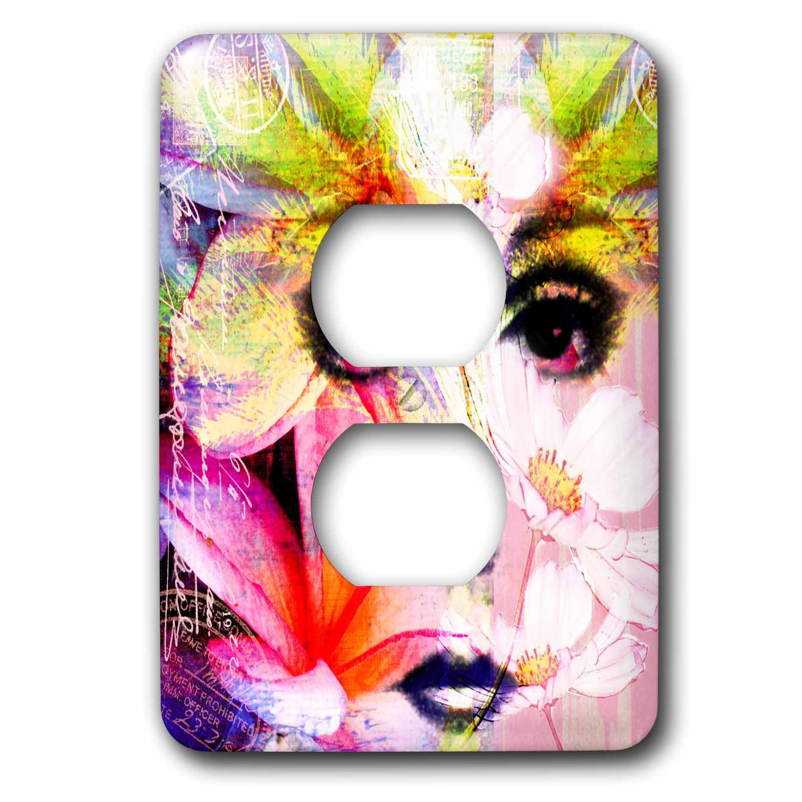 3dRose Andrea Haase Illustration Woman - Mixed media art woman face with floral elements - Light Switch Covers - 2 plug outlet cover (lsp_261653_6)
