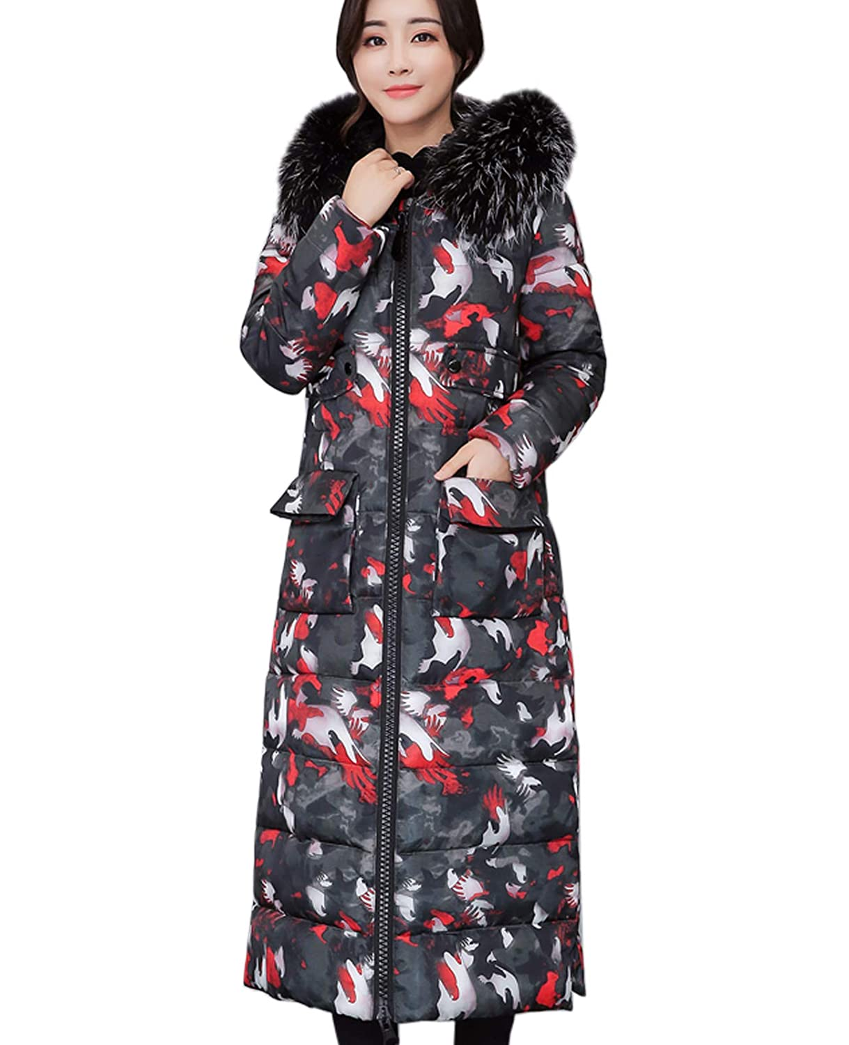 Camo Red Flygo Women's Winter Faux Fur Hooded Long Quilted Puffer Down Jacket Parka Coat