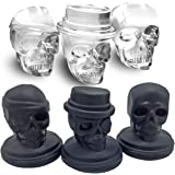 Kidac Skull Ice Cube Mold Creative 3D Skull Mold Food-Grade Flexible Silicone Skull Ice Cube Tray BPA Free (Set of 3 Different Skull Molds)