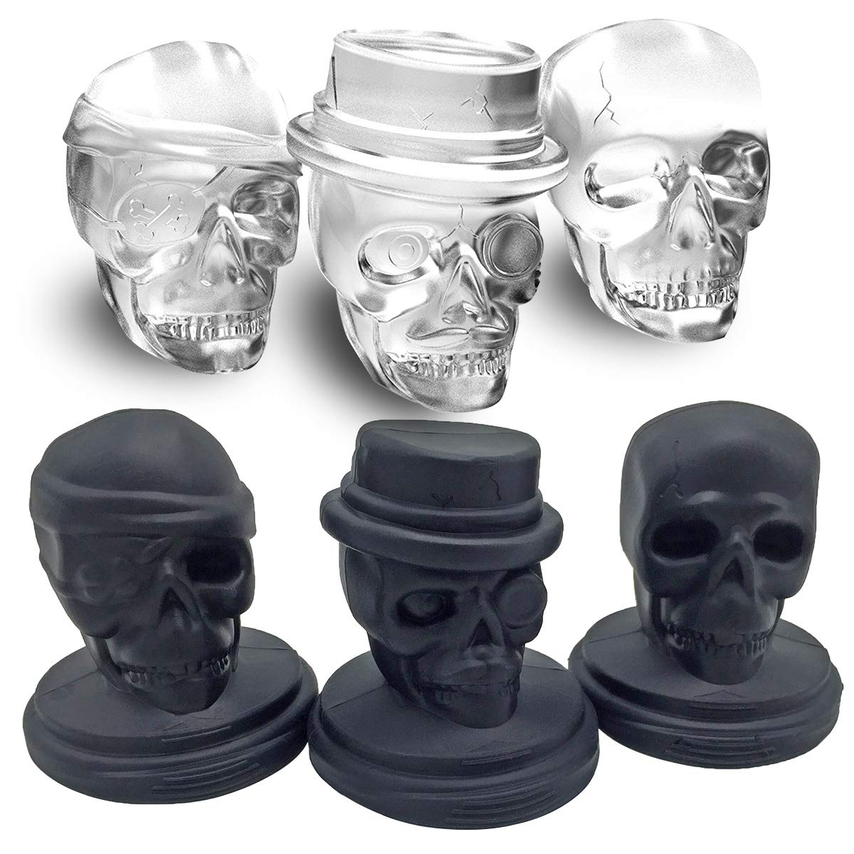 Kidac 3D Skull Ice Mold Set Novelty Giant Food Grade Silicone Skull Ice Cube Mold BPA Free (1 Set of 3 different detailed Skull Molds)
