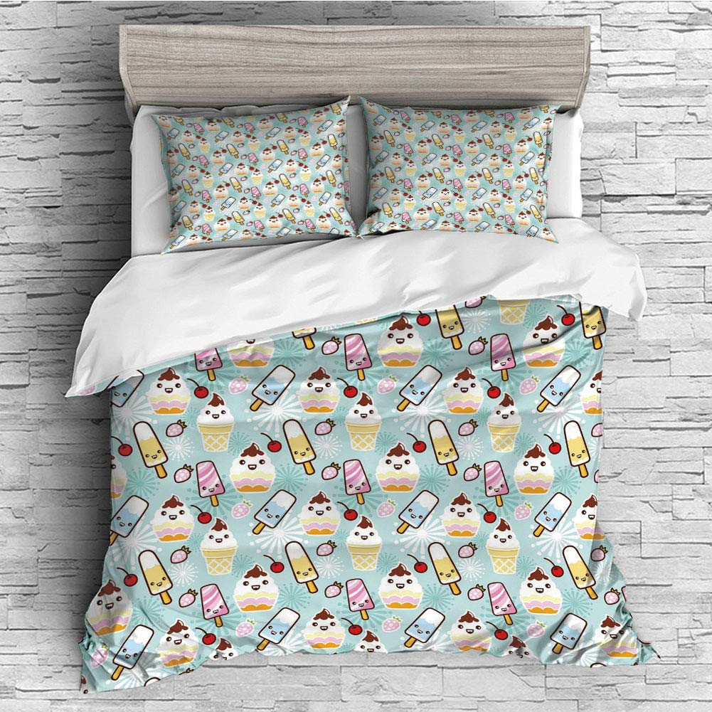 Cotton Bedding Sets Duvet Cover with Pillowcases Printed Comforter Cover Sets(King Size) Ice Cream Decor,Cute Cupcakes with Face Figures Cone Bars Creative Funny Caricature Image Decorative,Multicolo by iPrint