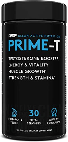 RSP Testosterone Booster for Men, Prime T 120 Caps Natural Test Booster Pills, Increase Free Testosterone, Lean Muscle Growth, Strength, Stamina Healthy Sleep, 30 Serv Packaging May Vary