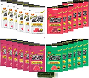 Extreme Sport Beans Jelly Belly Variety Pack 1oz - Watermelon, Assorted Flavors, Pomegranate & Cherry - 24 Pack (6 Packs of Each Flavor) with a Jarosa Bee Organic Peppermint Lip Balm by Jarosa