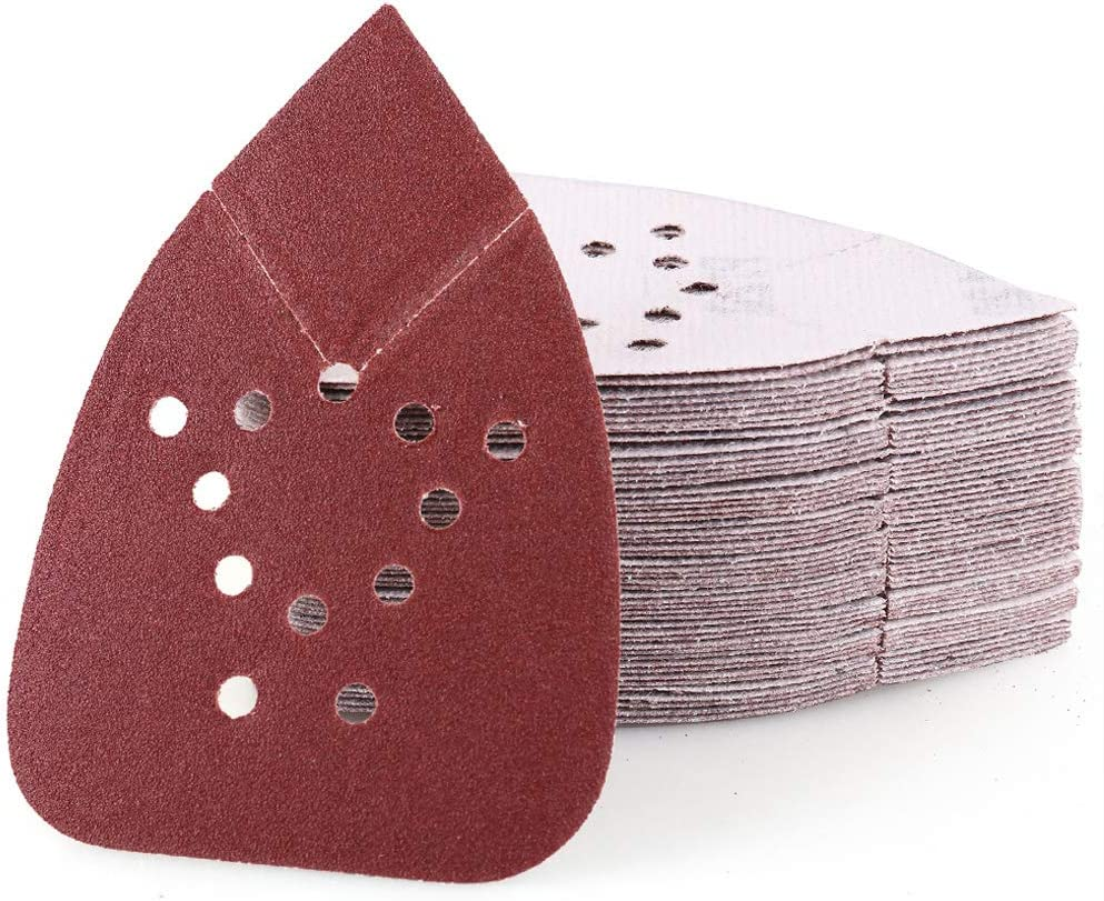 120 Grit Sanding Sheets for Black and Decker Mouse Sanders, 50PCS 12 Holes Hook and Loop Sandpaper - LotFancy Detail Palm Sander Sand Paper 71u3sU2PJTL