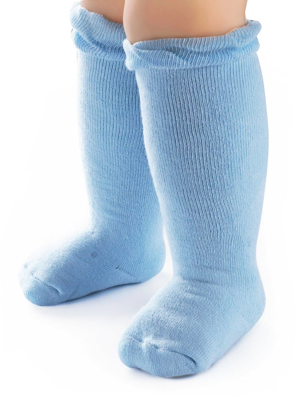 BabaMate 2 Pairs Winter Terry Cotton Baby Knee High Socks - Thick Warm Newborn Knee Socks for Toddler Boys Girls - Blue Grey