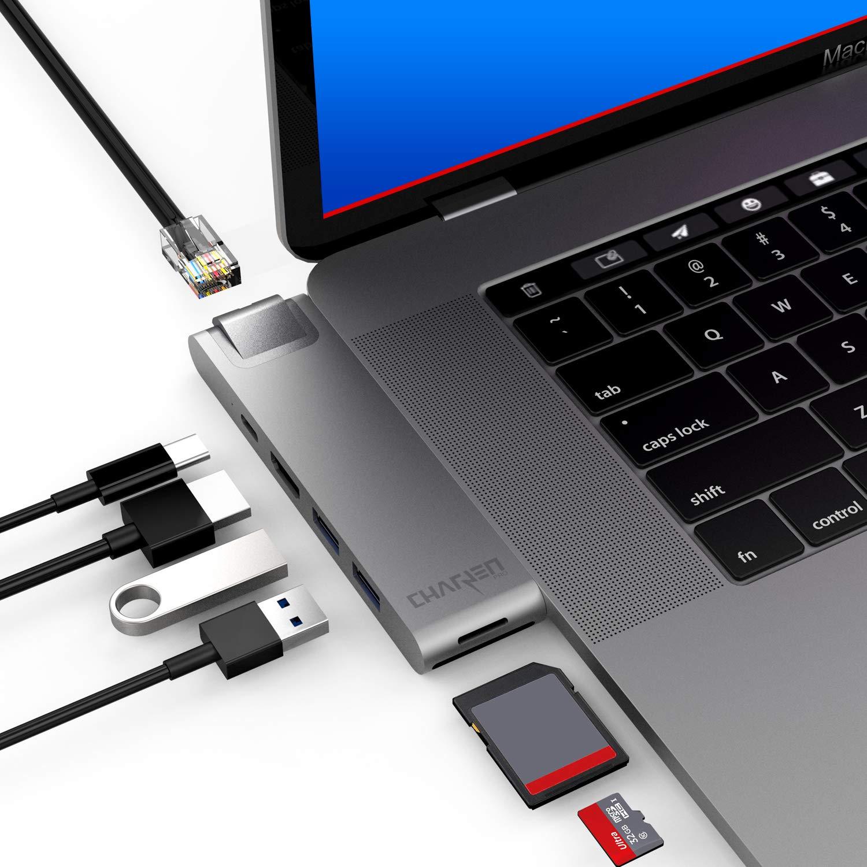 CharJenPro MacBar E USB C Hub for MacBook Pro 2019, 2018-2016, MacBook Air 2019, 2018, Gigabit Ethernet, HDMI 4K, Thunderbolt 3, 100W PD, MicroSD/SD Card Readers, 2 USB 3.0, (MacBook Pro USB C Hub) by CharJenPro