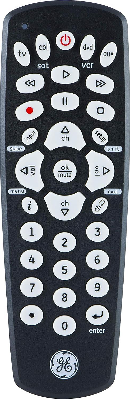 GE Universal Remote Control for Samsung, Vizio, Lg, Sony, Sharp, Roku, Apple TV, RCA, Panasonic, Smart TVs, Streaming Players, Blu-Ray, DVD, Simple Setup, 4-Device, Black, 27985