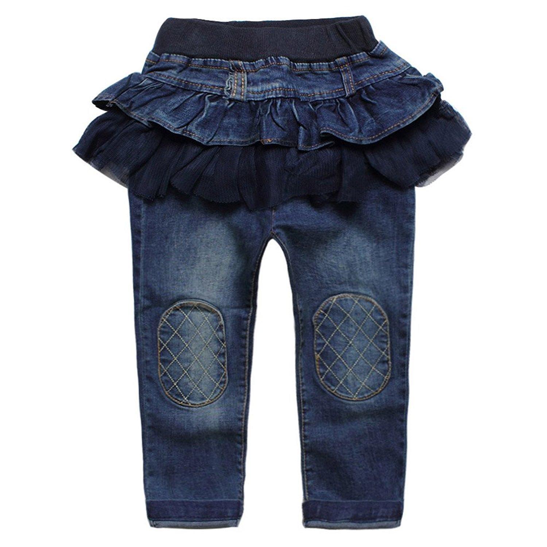 Kids Girls Stretchy Denim Pants Ruffle Flouncing Tulle Patchwork Skirts Legging size 6-7 T/140cm (Dark Blue)