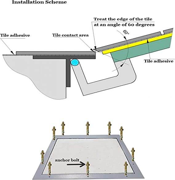 600 mm x 600 mm Trampilla de inspecci/ón Panel de acceso oculto para suelo para mosaico