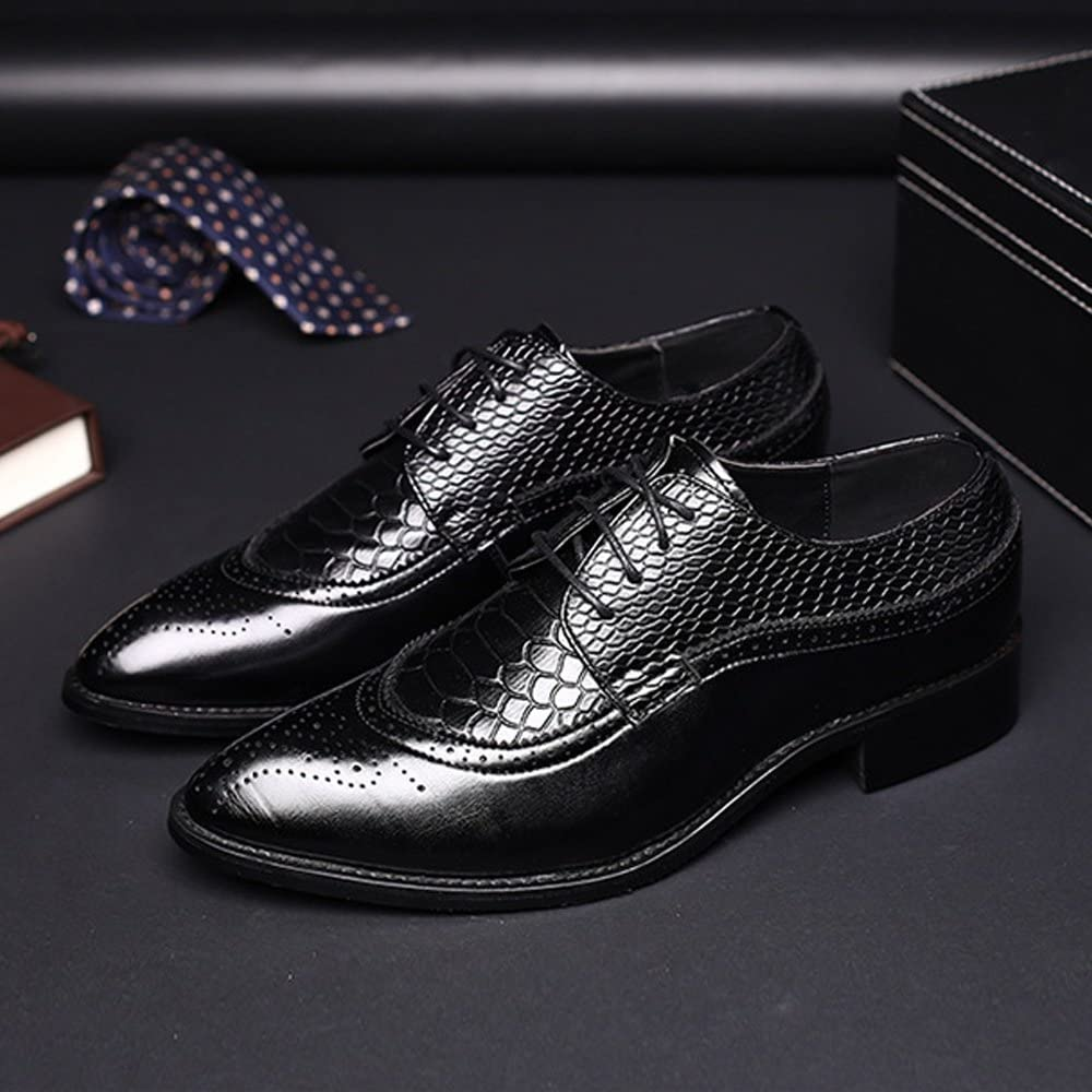 TongLing Mens PU Leather Shoes Hollow Carving Splice Snake Skin Texture Upper Lace Up Oxfords