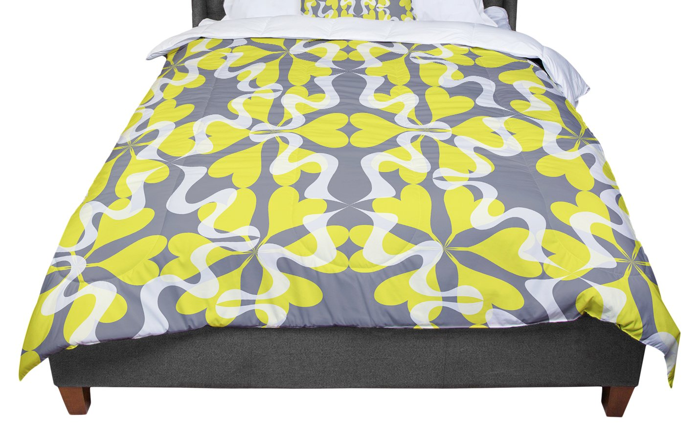 KESS InHouse Miranda Mol Flowering Hearts King Cal King Comforter 104 X 88
