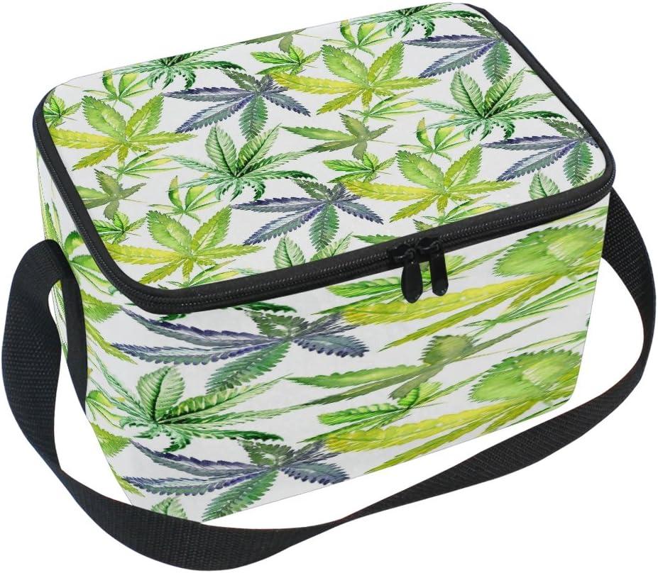 Use7 Mariajuana Cannabis Leaves Bolsa de Almuerzo aislada de Acuarela Bolsa Nevera lonchera para Picnic Escuela Mujeres Hombres niños