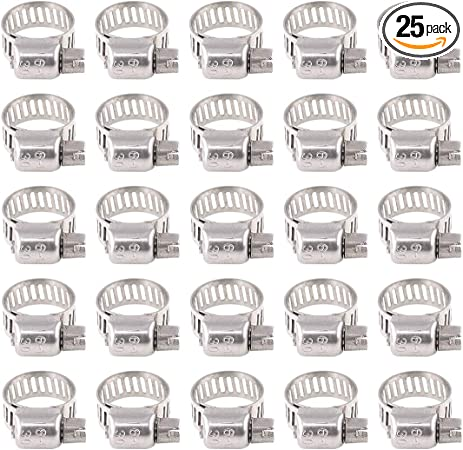 304 Stainless Steel Range Worm Gear Hose Clamp Clips Fuel Line Clamps Assortment Kit for Plumbing Rustark 25-Pcs Adjustable 10 to 16mm