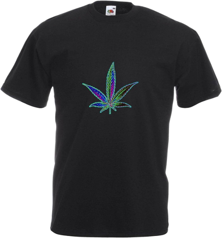 MFAZ Morefaz Ltd - Camiseta para hombre y mujer, diseño de ganja Leaf Weed, plátano Rasta Bandera