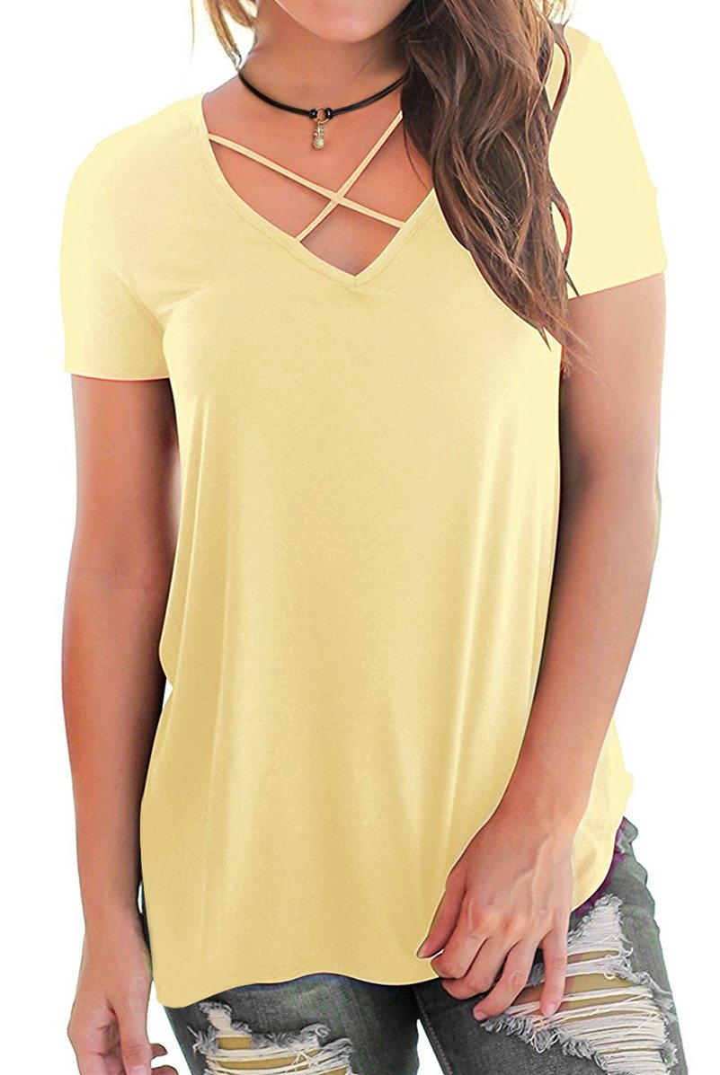 Eanklosco Womens Summer Short Sleeve Cold Shoulder Tops V Neck Basic T Shirts (Yellow-Cross, S)