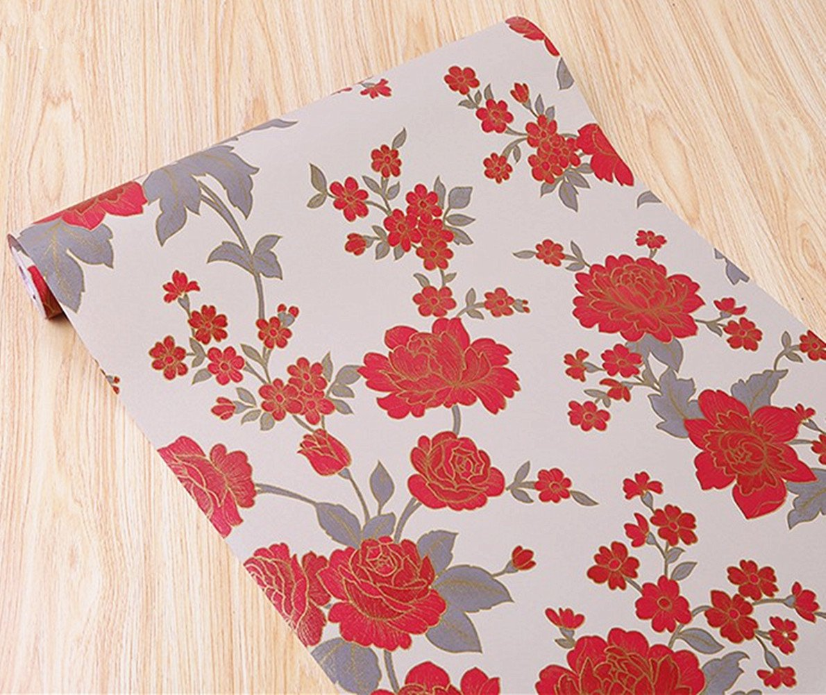 BESTERY Retro Style Red Floral Contact Paper Home Deco Wallpaper Shelf Liner Peel & Stick Dresser Drawer Sticker 17.7inch by 118inch (Red)