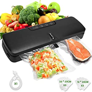Yoobure Vacuum Sealer Machine, Automatic Food Saver with Air Sealing System for Food Preservation, Starter Kit with Moist/Dry/Gentle Modes, Built-in Cutter, Led Indicator Lights, 10 Vacuum Bags