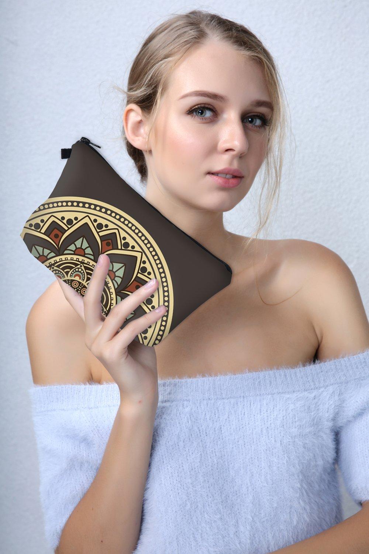 Roomy Cosmetic Bag, 3 piece Set Deanfun Waterproof Travel Toiletry Pouch Makeup with Zipper (Mandala Flowers) : Beauty