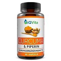 Hochdosierte Curcuma Extrakt Kapseln mit Piperin - Extrakt mit 95% Curcumin Gehalt (entspricht ca. 15.500mg Kurkuma pro Tagesdosis) - 60 Kapseln - OHNE Magnesiumstearat - Laborgeprüft - Vegan - hergestellt in Deutschland