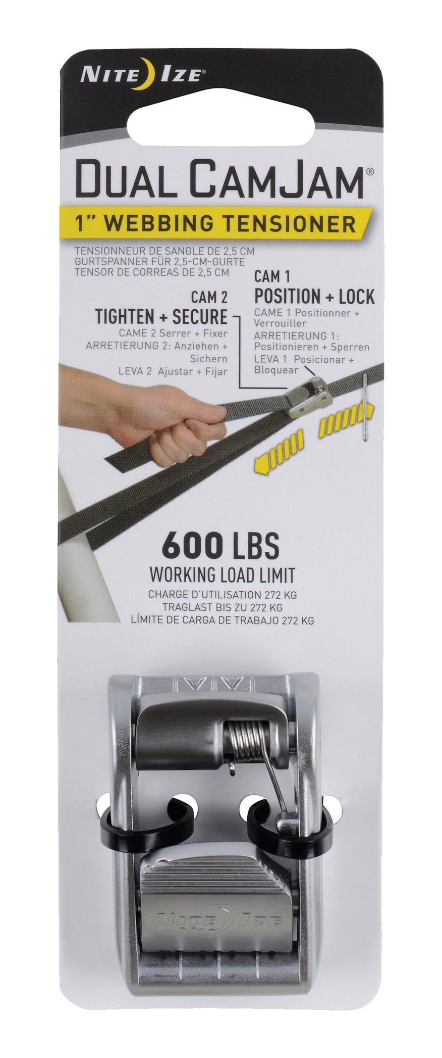 Nite Ize Dual Camjam Webbing Tensioner, Patented Dual Cam Zinc Alloy Buckle Fits Standard 1'' Webbing, 600 Lb Load Limit