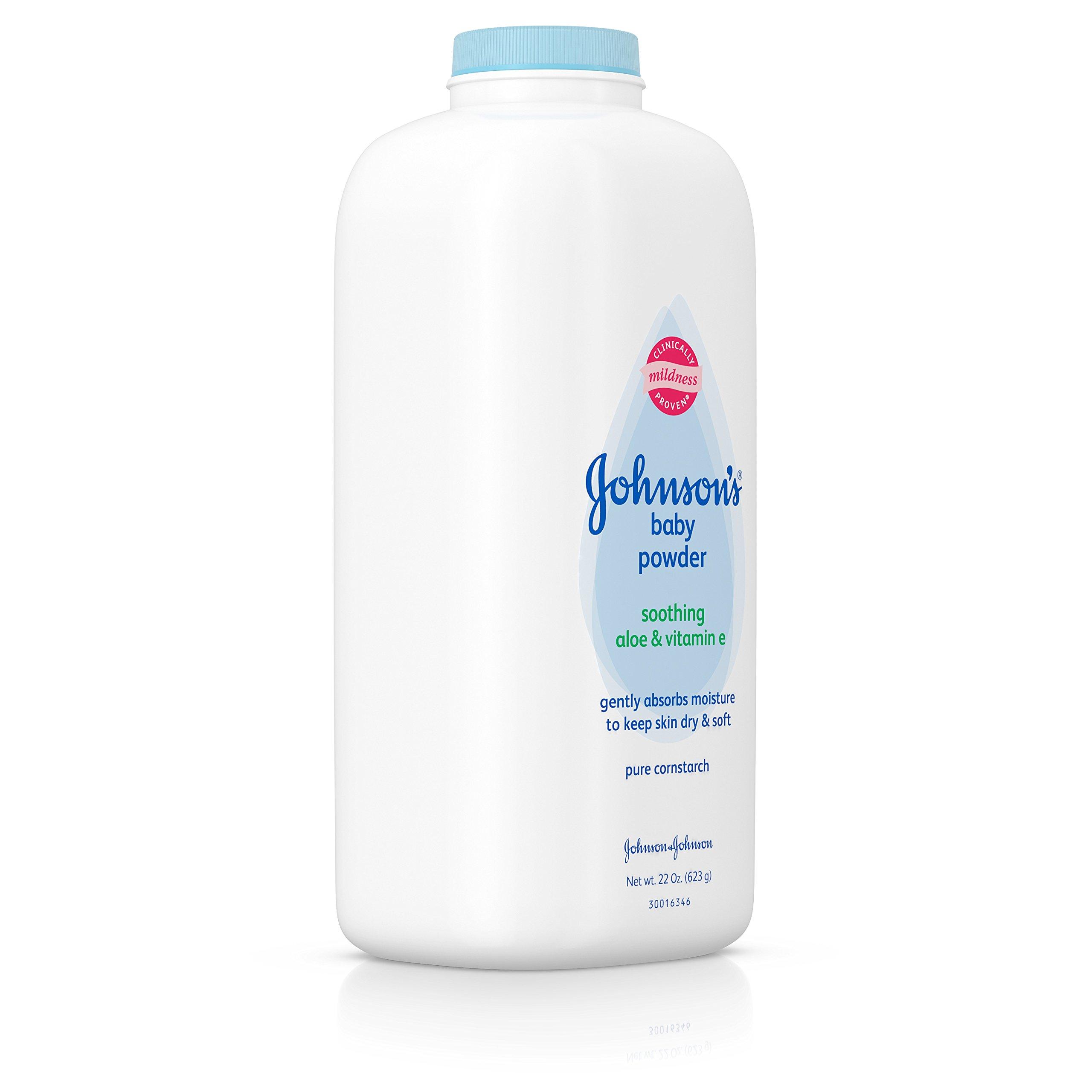 Johnson's Baby Powder With Aloe Vera & Vitamin E, Diaper Rash Protection, 22 Oz. (Pack of 6) by Johnson's Baby (Image #3)